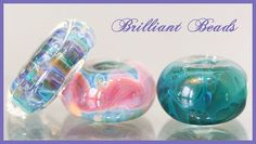 Blues Pinks & Spruce Green Boro Glass Bead by Gillianbeads on Etsy, $9.50