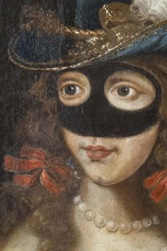 18th C French,  Portrait of a lady in  with decorative feather plumed hat wearing a mask.