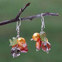 Pearl and peridot cluster earrings, 'Precious Fruit'