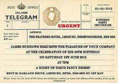PERSONALISED VINTAGE TELEGRAM BIRTHDAY PARTY INVITATIONS | eBay
