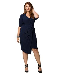 Kiyonna Women's Plus Size Foxfire Faux Wrap Dress at Amazon Women's Clothing store: