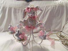 Adorable Pink White Bunny Chandelier Girl Nursery Decor   eBay