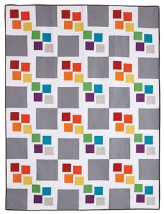 Gray Square Scramble Quilt (the pattern can be found in the Spring 2014 issue of Easy Quilts) | Little Miss Shabby