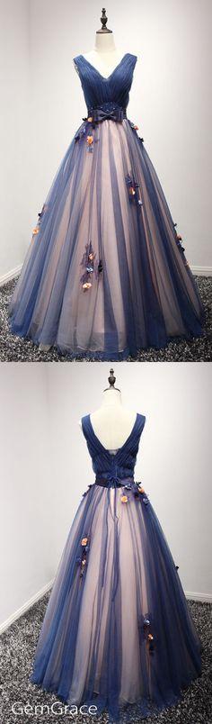 Navy blue long tulle prom dress by #GemGrace