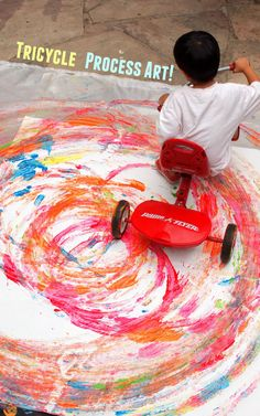 Tricycle Circles:  fun action process art for preschoolers