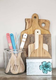 DIY Painted Utensils | 37 DIY Home Projects Ideas For You & Me