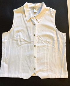 Dressbarn Size XL White Tailored Collared Tank Top Dressy or Casual #dressbarn…