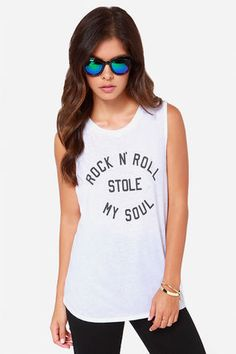 "Rock & roll can steal something important if you're not careful, just hope it's not your Volcom Drifter White Muscle Tee! This soft jersey knit tee has a classic crew neck, wide hemmed arm openings and an oversized fit to make it a comfortable top to slip into. ""Rock N' Roll Stole My Soul"" is printed on the front in a classic black font. Unlined. Model is 5'7"" and wearing a size X-small. 50% Polyester, 37% Cotton, 13% Viscose. Machine Wash Cold. Imported."