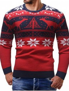 2a959bbb3c0fe Épaissir le chandail de Noël cardigan à manches longues hommes - Rouge - M Manches  Longues