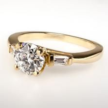 1 Carat VS1 Old European Cut Diamond Engagement Ring 14K Gold
