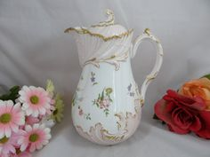 limoges chocolate pot | ... Painted Martial Redon Limoges France Gilded Coffee Chocolate Tea Pot