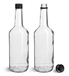 Clear Glass 1 Liter Liquor Bottles w/ Black Polypro Tamper Evident Caps from SKS Bottle and Packaging