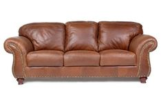 Capri 100 Full Aniline Dyed Cognac Nail Head Brazilian Leather Sofa *** See this great product. (This is an affiliate link) #LivingRoomFurnitureSets