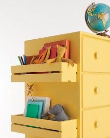Affix inexpensive CD crates to the side of your child's dresser to create extra storage space.