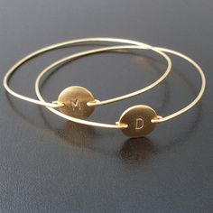 initials for my little ones or one for our last name. Personalized Bracelet Custom Initial Bangle by FrostedWillow