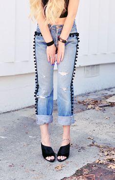 DIY Pom Pom Jeans | Embellished Vintage Levis
