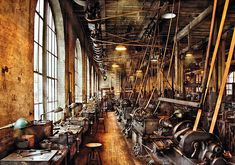 Steam Punk Art - Machinist - Machine Shop Circa by Mike Savad Vintage Industrial Decor, Industrial Artwork, Industrial Machine, Steampunk Design, Industrial Photography, Antique Tools, Machine Tools, Machine Age, The Old Days