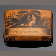 A George IV Mauchline Ware sycamore and pen work snuff box with a love poem