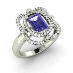 Engagement Rings - Caroline - Tanzanite Engagement Ring in 14k White Gold with SI Diamond (1.33 ct.tw.)
