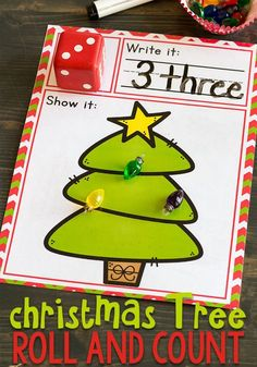 We love Christmas! This simple free printable Christmas Tree roll and count math game for kindergarteners is perfect for Christmas! Kids love rolling the dice, writing the numbers and counting the Christmas lights. Christmas Writing, Christmas Math, Christmas Activities For Kids, Preschool Christmas, Free Christmas Printables, Christmas Tree, Winter Activities, Christmas Decorations, Printable Games For Kids