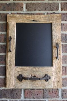 reclaimed+wood+bar   Reclaimed Barn Wood Chalkboard with a Towel Bar and Fork and Spoon ...