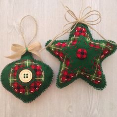 Christmas Handmade Ornaments / Christmas Plaid  by CraftsbyBeba                                                                                                                                                                                 Mais