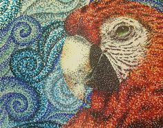 8 x 10 pointillism on a red headed macaw
