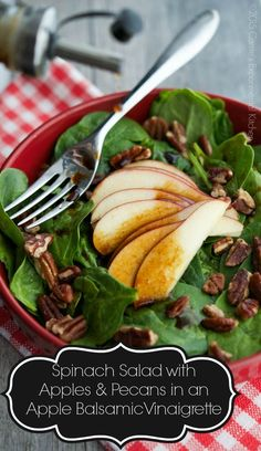 Spinach Salad with Apples & Pecans in an Apple Balsamic Vinaigrette | carriesexperimentalkitchen.com  #salad #sundaysupper