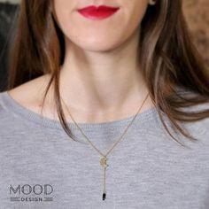 collar con luna colgante oro  plata chapada en oro montaje