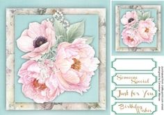 8x8 Pink roses and Anemone on Craftsuprint - View Now!