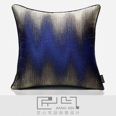 匠心宅品 现代/简欧样板房/软装靠包抱枕蓝色渐变滚边方枕{不含芯: