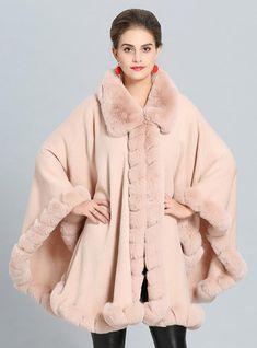 0eec8021762 Fall Winter Cashmere Cape Female Fox Fur Collar Shawl