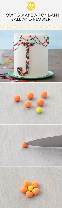 Learn how to make an adorable flower using very the simple fondant ball technique! These cute little flowers make for a sweet topping to your decorated desserts! #wiltoncakes #fondant #fondantideas #coloringfondant #fondantdecorations #cakes #cakeideas #cakedecorating #cupcakes #cupcakedecorating #cupcakeideas #howto #cakedesigns #cupcakedesigns #flowers #blossoms
