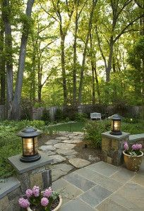 maybe an idea for the backyard? prev pinner mentioned: wonderfully shaded and landscaped yard area. love the tree canopy and the natural stone that blends with its surroundings Backyard Patio, Backyard Landscaping, Patio Wall, Landscape Design, Garden Design, Dream Garden, Garden Paths, Garden Inspiration, Outdoor Gardens