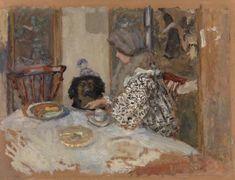Woman with Dog, or Woman and Dog at Table (Femme au chien, ou Femme et chien à table) - Pierre Bonnard 1908