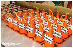 labels for construction cone cup Car Themed Parties, Cars Birthday Parties, Birthday Ideas, Race Car Party, Nascar Party, Construction Theme Party, Hot Wheels Birthday, Disney Cars Party, Diy Party