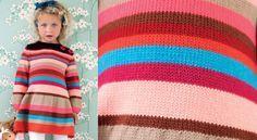 La robe jersey rayé filletteChic, l'hiver arrive. C'est la saison des petites robes chaudes et colorées de rayures vives. Un adorable modèle pour fillettes.