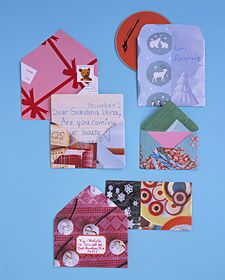 Handmade envelopes made from colorful magazine pages, wrapping paper, or scrapbook paper. Great for holidays, special occasions, or just for fun. Unfold a regular envelope and use it as a template. Trace, cut out, and glue together with glue stick or tacky glue. Use label if you're going to mail it.