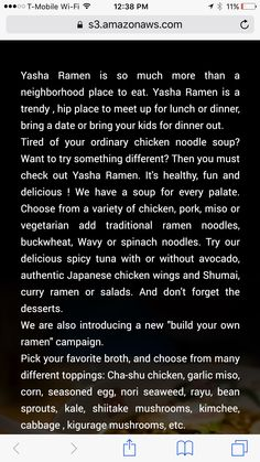 The description of Yasha ramen