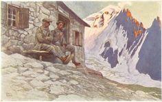 Klicke auf dieses Bild, um es in vollständiger Größe anzuzeigen. Otto Barth (1876-1916), Gustav Jahn (1879-1919), Alpenmaler aus Österreich. Mountain Pictures, Climbing, Horses, Mountains, Random, Nature, Painting, Magic, Vintage
