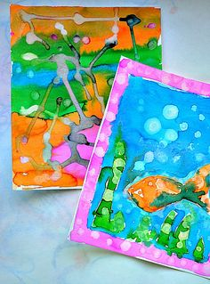 Art activities for kids : Texture on watercolor projects from Blog Me Mom