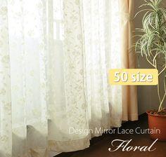 【楽天市場】★50サイズオーダー対応★デザインミラーレースカーテン【Floral フローラル】1枚組<200cm巾:丈11サイズ>:インテリア デプレ