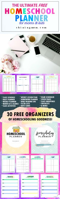 Time to make homeschooling a bit easier ! Get this free homeschool planner printable with over 30 school organizing freebies!
