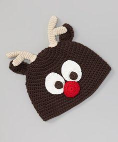 This Dark Brown Front Reindeer Crochet Beanie by chéri by Bébé Oh La La is perfect! #zulilyfinds