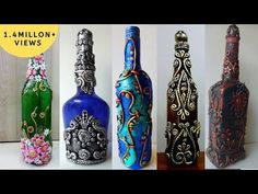 5 Bottle Decoration Ideas Hello everyone, In this video, we will see how to recycle waste glass bottles into a beautif Painted Glass Bottles, Recycled Glass Bottles, Glass Bottle Crafts, Wine Bottle Art, Diy Bottle, Bottles And Jars, Bottle Labels, Diy Home Crafts, Clay Crafts