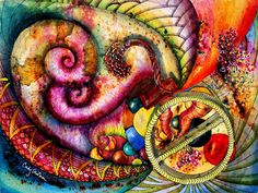 Ammonites in Love abstract archival giclee print by JennyGulchArts, $4.50