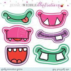 Girly Monster Grins Digital Clipart - JW Illustrations