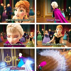 I love/hate how almost every time Elsa looses control, her power - aka her subconscious - creates something to protect her. It just shows how scared and lacking in confidence she is... She's so desperate for something to make her feel safe. Like the wall, here, and the storm to hide her so she can run, etc. These writers were amazing :3