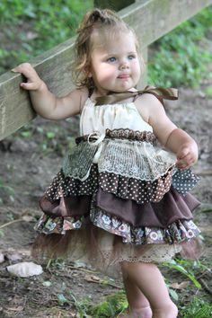 Girls Newborn-2T Brown, Ecru Lace and Tulle Dress