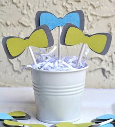 Bow Tie theme cupcake toppers set of 12 READY TO by jkdesigns2009, $8.00 Follow us on Instagram!! @JK Designs